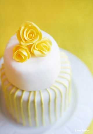 Mini yellow wedding cakes i am baker fondant flowers with royal icing piping mightylinksfo