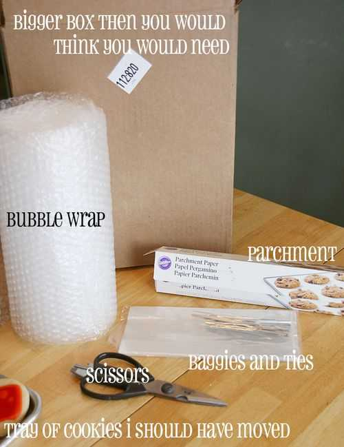 Pack the cookies in a shipping box with sturdy sides, such as those sold at the post office or shipping company. Use bubble wrap to line the interior of the box prior to placing the cookies in. Fill any extra space with bubble wrap or wax paper.